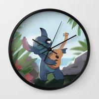 lilo and stitch Wall Clocks featuring Stitch (Lilo & Stitch) by Bana Sakhnini