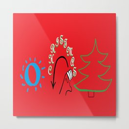 American Sign Language O Christmas Tree Metal Print