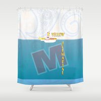 yellow submarine Shower Curtains featuring Yellow Submarine by design.declanhackett