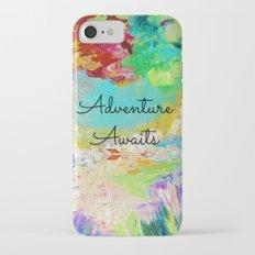 ADVENTURE AWAITS Wanderlust Typography Explore Summer Nature Rainbow Abstract Fine Art Painting Slim Case iPhone 7