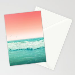 Aqua and Coral, 2 Stationery Cards