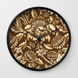 William Morris Sunflowers, Chocolate Brown & Beige Wall Clock