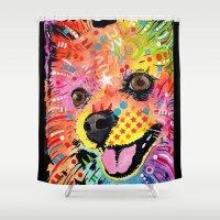 pomeranian Shower Curtains featuring Pomeranian dog by trevacristina