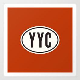 Calgary Alberta Canada YYC • Oval Car Sticker Design with Airport Code • Brick Red Art Print