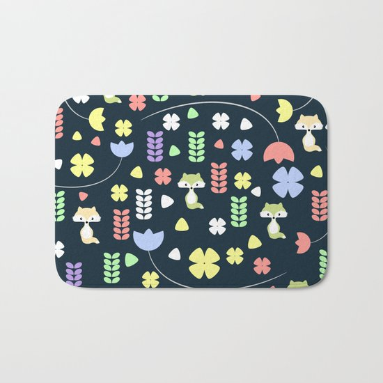Cute foxes, flowers and more Bath Mat