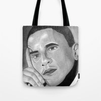 obama Tote Bags featuring Obama  by Lupo Solitario
