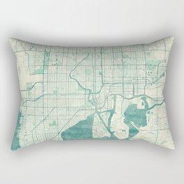 Tampa Map Blue Vintage Rectangular Pillow