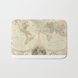 Vintage Map of The World (1780) 2 Bath Mat