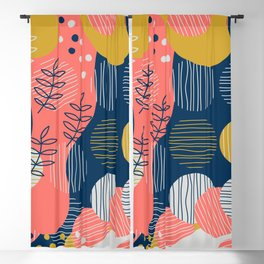Mid Modern Nature 2.5 Coral, blue & Gold Blackout Curtain
