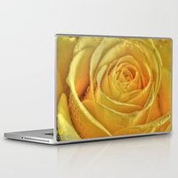 rose gold Laptop & iPad Skins featuring Gold Rose by Tracy66