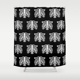 Human Rib Cage Pattern Black and White Shower Curtain