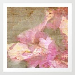 Pink Flower Burnt in Wood Art Print