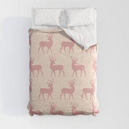 Mid Century Modern Deer Pattern Dusty Rose 3 Comforters