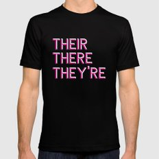Their, There, They're Black Mens Fitted Tee MEDIUM