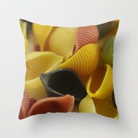 pasta Throw Pillows featuring Colorful Pasta  by Tanja Riedel