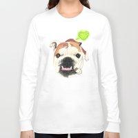english bulldog Long Sleeve T-shirts featuring English Bulldog - F.I.P. - @LucyFarted by PaperTigress