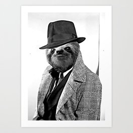 Gentleman Sloth with Coat - Cartoonized Art Print