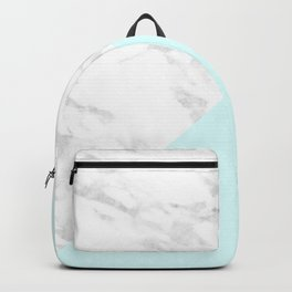 White Marble with Pastel Blue and Grey Backpack