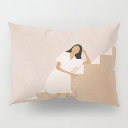 Girl Thinking on a Stairway Pillow Sham