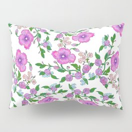 Hand Painted Pink Lilac Teal Green Watercolor Floral Pillow Sham