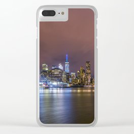 Downtown Manhatten Skyline at Night Clear iPhone Case