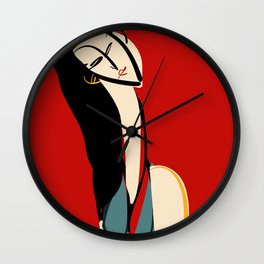 The girl in scarlet red Wall Clock
