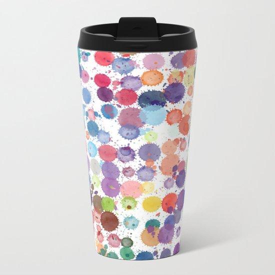 Watercolor Drops Metal Travel Mug