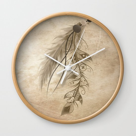 Bohemian Feather Wall Clock
