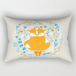 Foxes in love - Grey Rectangular Pillow