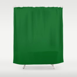 Forest Green Solid Color Block Shower Curtain