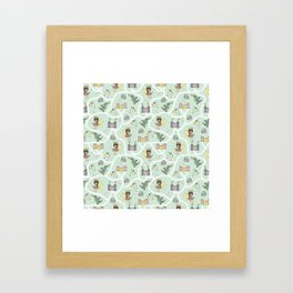 Childish seamless pattern with princess and dragon green background Framed Art Print