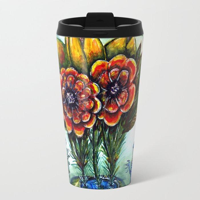 Surreal watercolor flowers and bugs Travel Mug