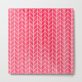Red Herringbone Pattern Metal Print