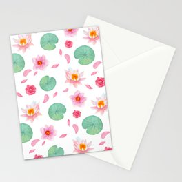 Watercolor blush pink green yellow water lilies lotus floral Stationery Cards