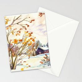 Late Autumn. First Snow. Rural Landsape. Birches Stationery Cards
