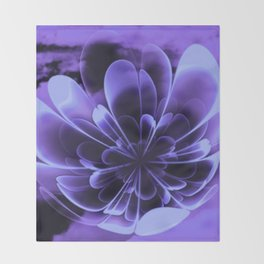 Abstract Blue Flower Throw Blanket