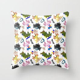 Beachtime Fun Axolotls Throw Pillow