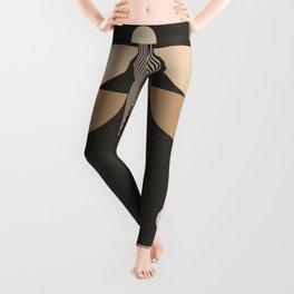 Abstraction_NEW_SUN_BLACK_LINE_POP_ART_0888BG Leggings