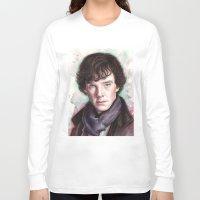 sherlock holmes Long Sleeve T-shirts featuring Sherlock Holmes by Olechka