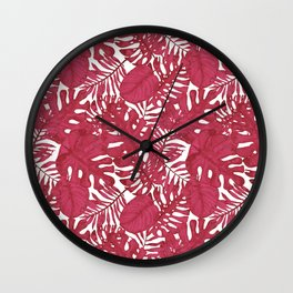 Modern tropical bright pink cheese leaves floral Wall Clock