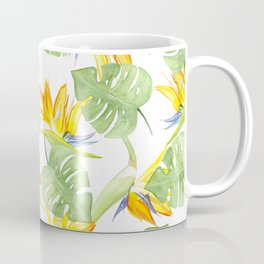 watercolor pattern tropical leaves and flowers bird of paradise Coffee Mug