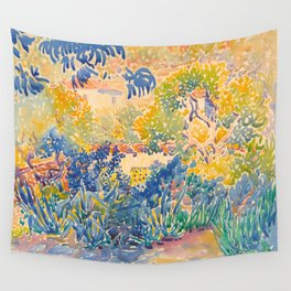 Henri-Edmond Cross Neo-Impressionism Pointillism The Artist's Garden at St. Clair Watercolor Paintin Wall Tapestry