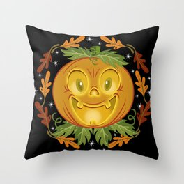Retro Smiling Jack O Lantern Throw Pillow