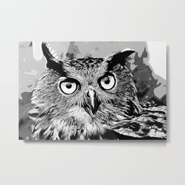 owl strix bird v2 vector art black white Metal Print