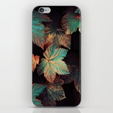 Copper And Teal Leaves iPhone Skin