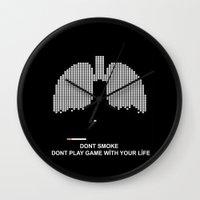 tetris Wall Clocks featuring Smoke Tetris by ArtSchool