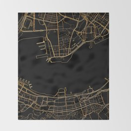 Black and gold Hong Kong map Throw Blanket