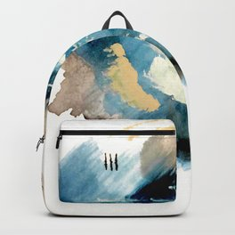 You are an Ocean - abstract India Ink & Acrylic in blue, gray, brown, black and white Backpack
