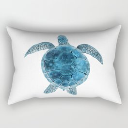 Watercolor Sea Turtle - Turquoise Blue Rectangular Pillow