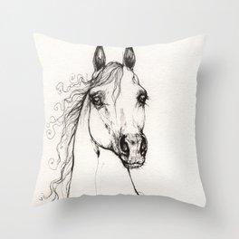 Arabian horse drawing Throw Pillow